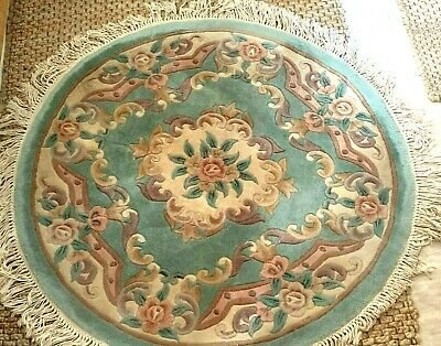 £39.99 • Buy Dragon Rug Collection Chinese 100% Wool Rug 125cm Round Green Floral Handmade