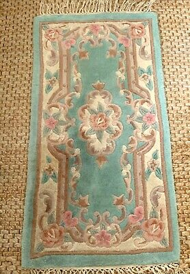 £34.99 • Buy Dragon Rug Collection Chinese 100% Wool Rug 122cm X 61cm Green Floral Handmade