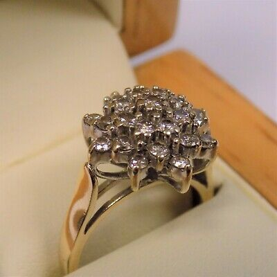 £249.95 • Buy 9ct Solid Yellow Gold 1ct Diamond Cluster Ring Size L Hallmarked Free UK Postage