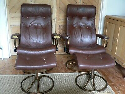 £500 • Buy VINTAGE EKORNES STRESSLESS LEATHER RECLINING CHAIRS & STOOLS 70's Swivel X 2