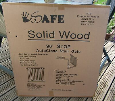 £29.99 • Buy ISAFE Deluxe Solid Wood Safety Stair Gate 76-83cm - Black & Natural Wood BNIB