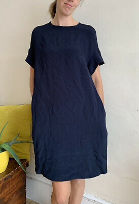 £25 • Buy Casual Day Dress By COS Size 36 Uk 8 Navy Blue Loose Cut