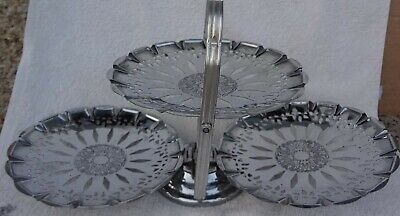 £7.99 • Buy Lovely Vintage Chrome Plated 3 Tier Folding Cake Stand