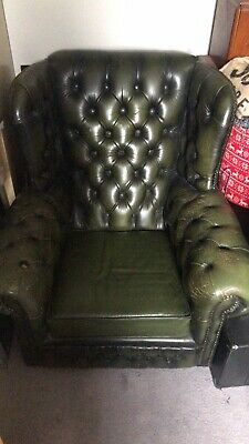 £72 • Buy Green Leather High Back Chesterfield Chair