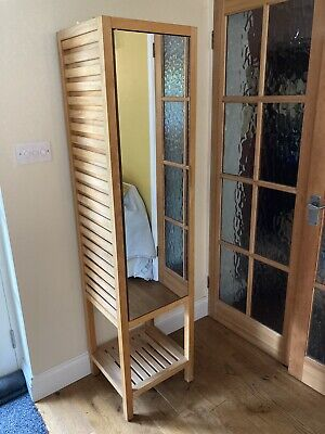 £45 • Buy Tall, Wooden, Mirrored Storage Unit (possibly Habitat)