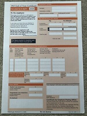 £2.50 • Buy 5x Hmrc P60 Forms For Tax Year 2019/2020