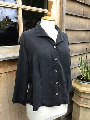 £30 • Buy Cut Loose Black Blouse Medium Size, Button Front, Collar, Boxy Style