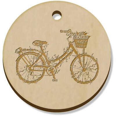 £3.99 • Buy 11 X 34mm 'Bike With Vines' Wooden Pendants / Charms (PN00019407)
