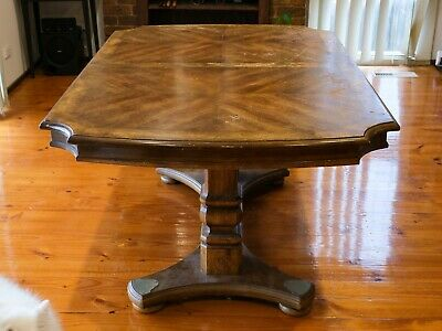 AU900 • Buy Vintage French Parquetry Dining Table + 8 Rattan Chair Seat Set - Retro Furnitur
