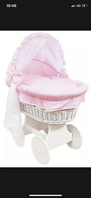 £60 • Buy Pink WICKER WHEELS CRIB/BABY MOSES BASKET + COMPLETE BEDDING White/Cotton Pink