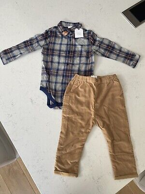 £9.50 • Buy NEXT 'Fox' Checked Shirt Bodysuit & Corduroy Trousers – Size 12-18 Months (NEW)