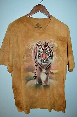 £7.31 • Buy The Mountain Tie Dyed Animal TIGER Cats T Shirt Mens XL