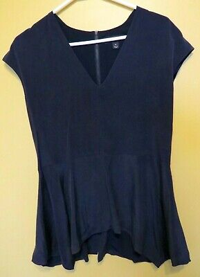 AU12 • Buy Country Road Navy Blue Sleeveless Structured 100% Silk Fully Lined Top EUC M