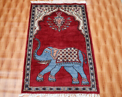 £99 • Buy Elephent Design Red Color 60x90cm Silk Hand-Knotted Traditional Area Rug Carpet