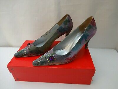 £35 • Buy Charles Jourdan Evening Wedding Party Shoes Size UK 6 EU38 US8 In Floral Glitter
