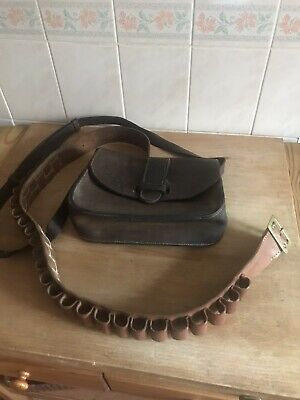 £15 • Buy Vintage Leather Cartridge Bag And Hand Sewn Leather 12g Cartridge Belt