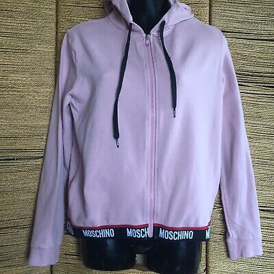 £10 • Buy MOSCHINO ZIP UP HOODED TOP PINK LADIES AUTH SIZE S Please Read
