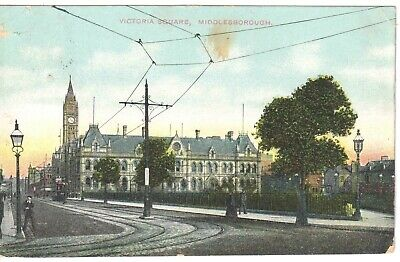 £0.79 • Buy VICTORIA SQUARE, MIDDLESBOROUGH. Printed Postcard With 1910s Street Scene GC
