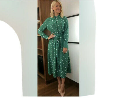 AU15.99 • Buy Asos Holly & Other Stories Green Polka Dot Buttoned Midi Dress Uk12