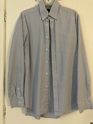 """£3 • Buy M&S Collection Regular Fit Blue Striped Shirt. Size 15.5"""" Neck"""