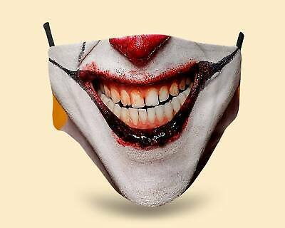 £6.40 • Buy Funny Scary Clown Facemask. Reusable, Washable Polyester And Cotton Face Mask