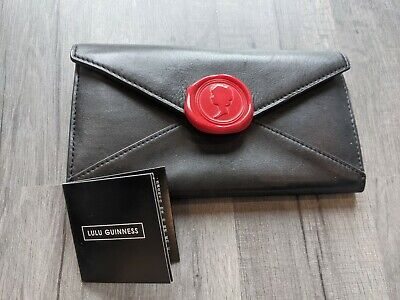 £19 • Buy Lulu Guinness Love Letters Laura Purse Black Leather Envelope Wax Stamp