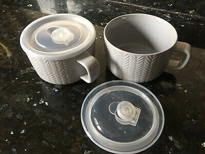 £6 • Buy  Grey Ceramic Soup Mugs / Cups With Plastic Lids Microwavable Air Vent  X 2
