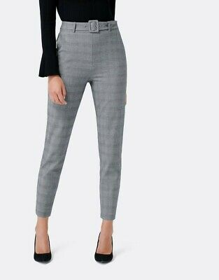 AU50 • Buy Forever New Size 6 Emily High-waist Grey Belted Crop Pants Mint Condition