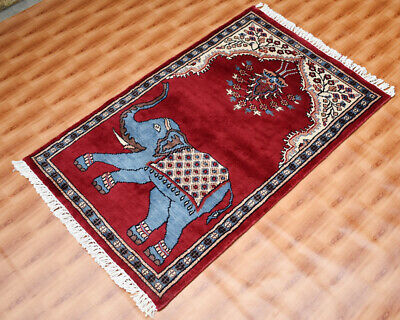 £99 • Buy Red Color 2x3 Foot Silk Hand-Knotted Traditional Area Rug Carpet Elephent Design