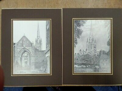 £7 • Buy 2 Pencil Drawings Sketch Norwich Cathedral Signed Prints Chris Hutchins BB664