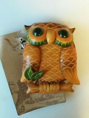 £9.99 • Buy NEW WITH TAGS...Leather Owl Shaped Purse Wallet Keyring