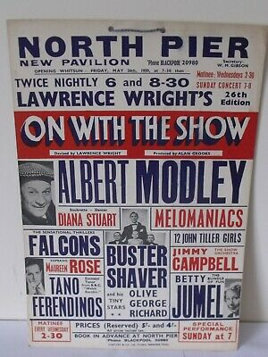 £20 • Buy Vintage North Pier New Pavilion  Blackpool Theatre Poster Albert Modley May 1950