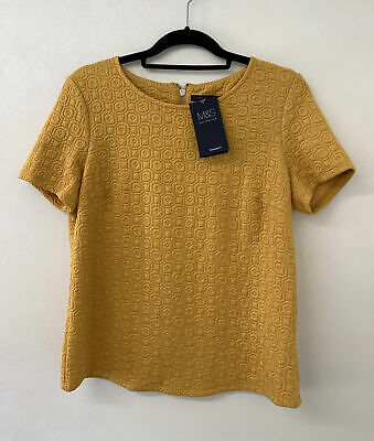 £9 • Buy M&S Collection Mustard Textured Top 12 NEW RRP £22.50