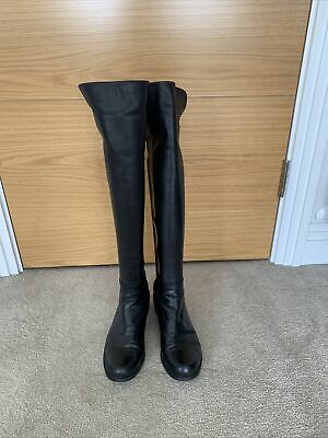 £45 • Buy Stuart Weitzman Black Leather Stretch Over Knee Boots Size 37.5 /4.5
