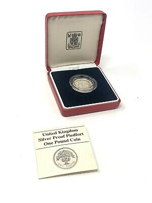 £4.81 • Buy Lovely Vintage United Kingdom Silver Proof Pied-fort One Pound Coin & Box #1756