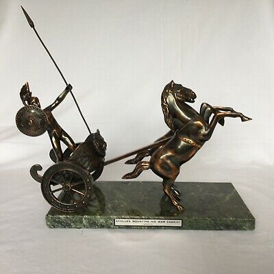 £40 • Buy Achilles Mounting His War Chariot Copper Statue/Sculpture On Marble Base