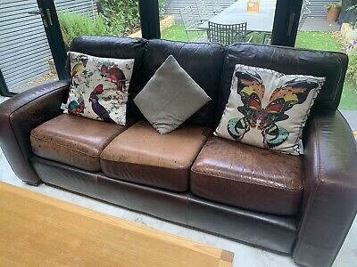 £99 • Buy Heals Leather 3 Seat Sofa (cost £4K To Buy New)