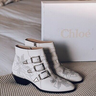 £299.99 • Buy Chloe Susanna Cloudy White Leather Silver Studded Ankle Boots Sz 34.5/35