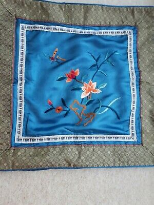 £20 • Buy Vintage Cushion Cover Turquoise Oriental Silk Hand Embroidered 38cmX38cm Dragonf