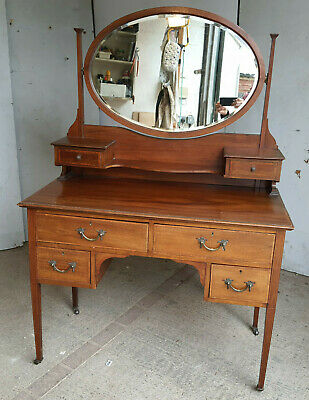 £275 • Buy Antique,edwardian,inlaid,dressing Table,drawers,oval Mirror,tapered Legs,castors