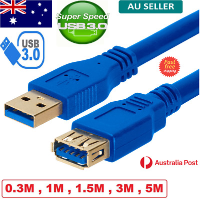 AU7.99 • Buy SuperSpeed USB 3.0 Male Female Data Cable Extension Cord For Laptop PC Camera AU