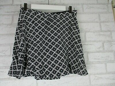 AU34 • Buy Tigerlily 10 Womans Skirt Black White Print Exposed Zip A-line 100% Rayon