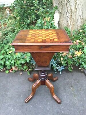 AU749 • Buy Antique Victorian Sewing Table With Inlaid Chess Board Top!