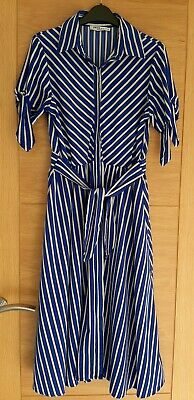 £5 • Buy Womens Striped Belted Midi Dress Blue White Size 12