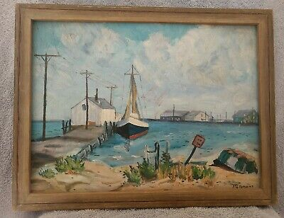 £256.54 • Buy WPA ERA 1940's OLD CAPE COD MA HARBOR SIGNED AMERICAN IMPRESSIONIST OIL PAINTING
