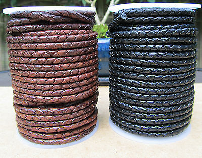 £3.25 • Buy Quality Braided Leather Cord 3mm  Genuine Real Cow Leather  Antique Brown