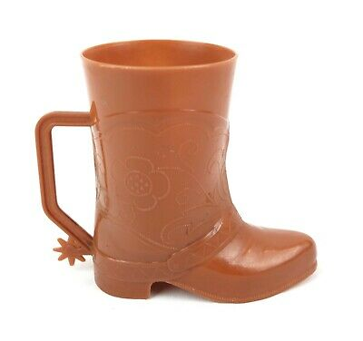 £19.42 • Buy Vintage Mid Century Brown 1950's Plastic Cowboy Boot With Spurs Cup 4.75  Tall