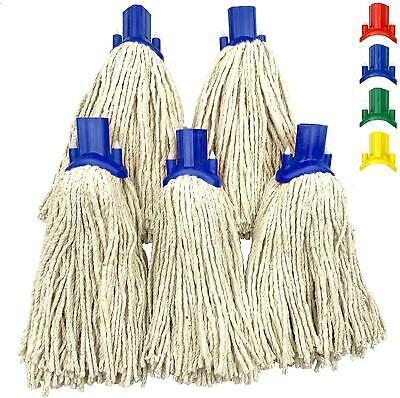 £8.99 • Buy 5x Cotton Mop Heads Replacement Floor Multi Fit Heavy Duty Cleaning Kitchen Blue