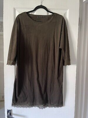 £7.99 • Buy Zara Ladies Brown Suede Lace Style Short Dress Size L 14-16 Stretch INFLUENCERS
