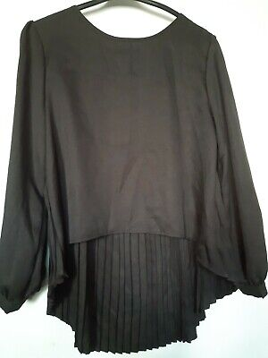 £1 • Buy Shein Black Back Pleated Blouse